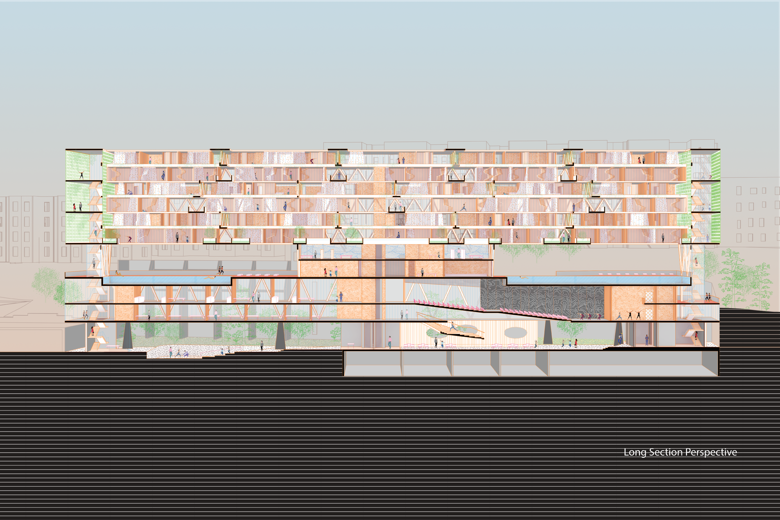 Section Perspective, upper level with program of housing, center skylight courtyard, corridors, maker space; lower level of open swimming pool, public ground floor