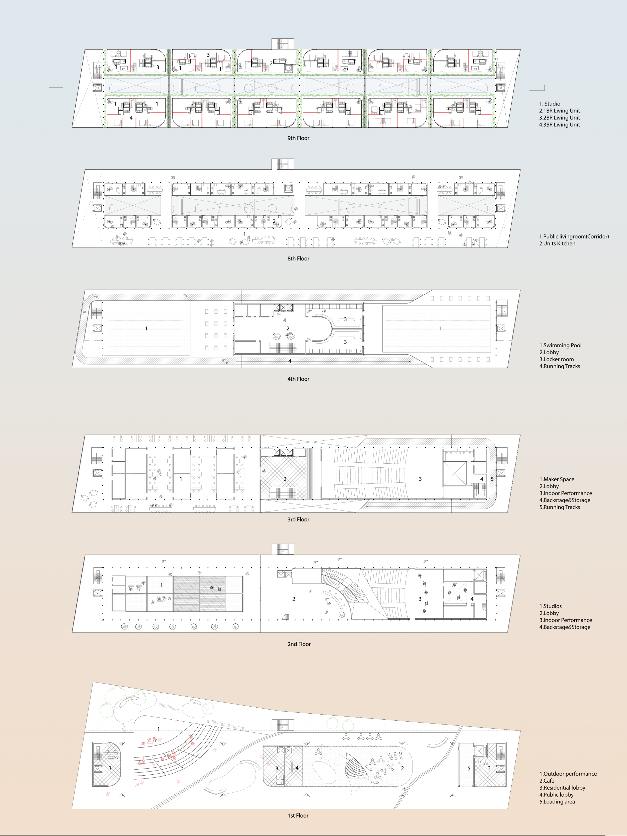 Plan, open 1st Floor with structural column, Large span 2nd floor of Indoor Performance and  school