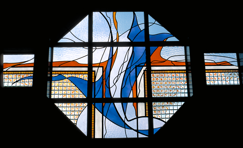 "Baptismal Font Window.17'-2"" x 8'-2"" overall."