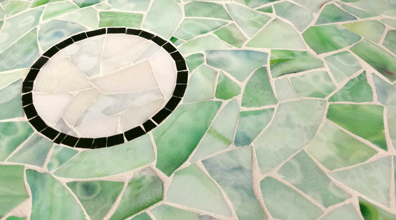 Stained glass sheet glass cut into tessera.