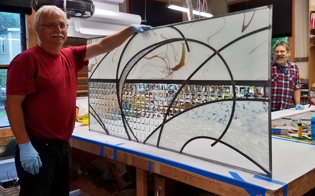 A finished window, ready for crating and shipping.