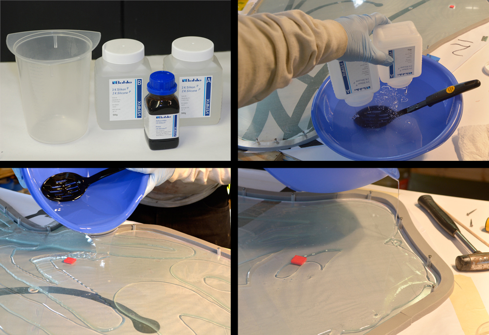 Mixing the silicon, then pouring it onto the clear base glass.