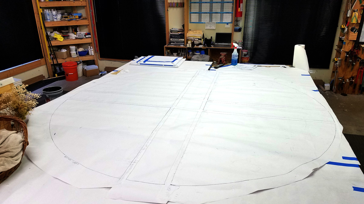 """The """"cartoons"""" are created from templates and rubbings off of the frames. This cartoon will have the full-size drawing applied to it."""