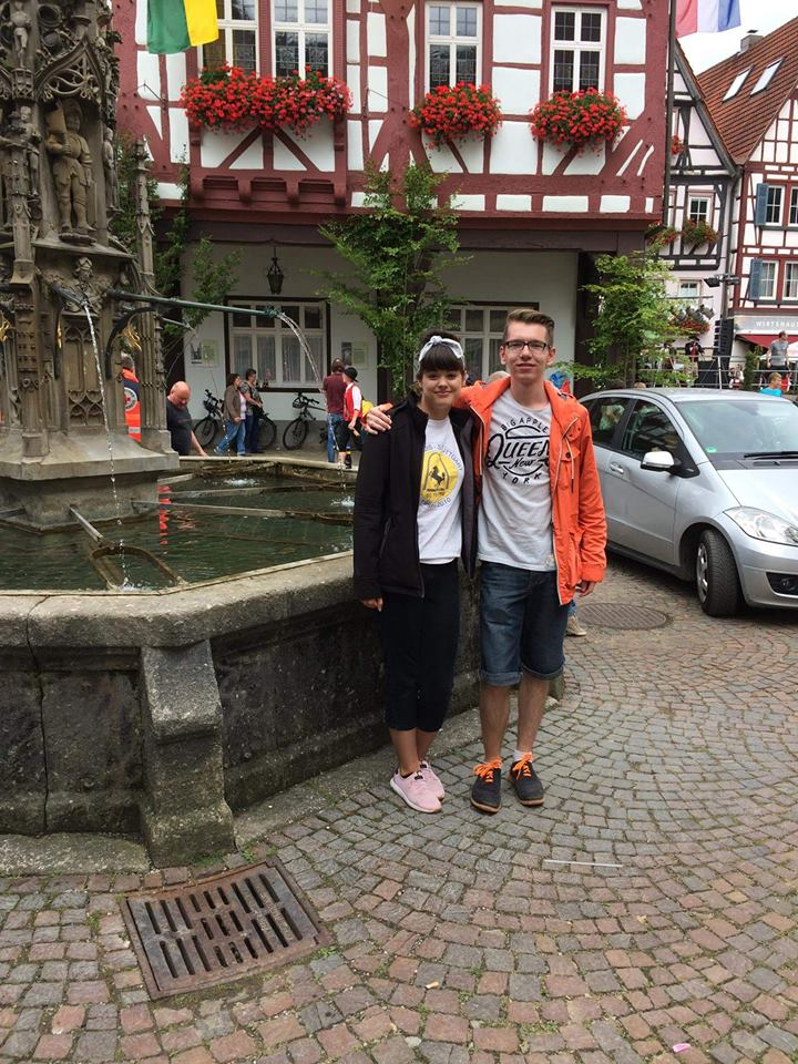 Young Professional member Abby Naumann with Tobi Mielich, a former German exchange student and scholarship recipient in Bad Urach at the annual Schäferlau.