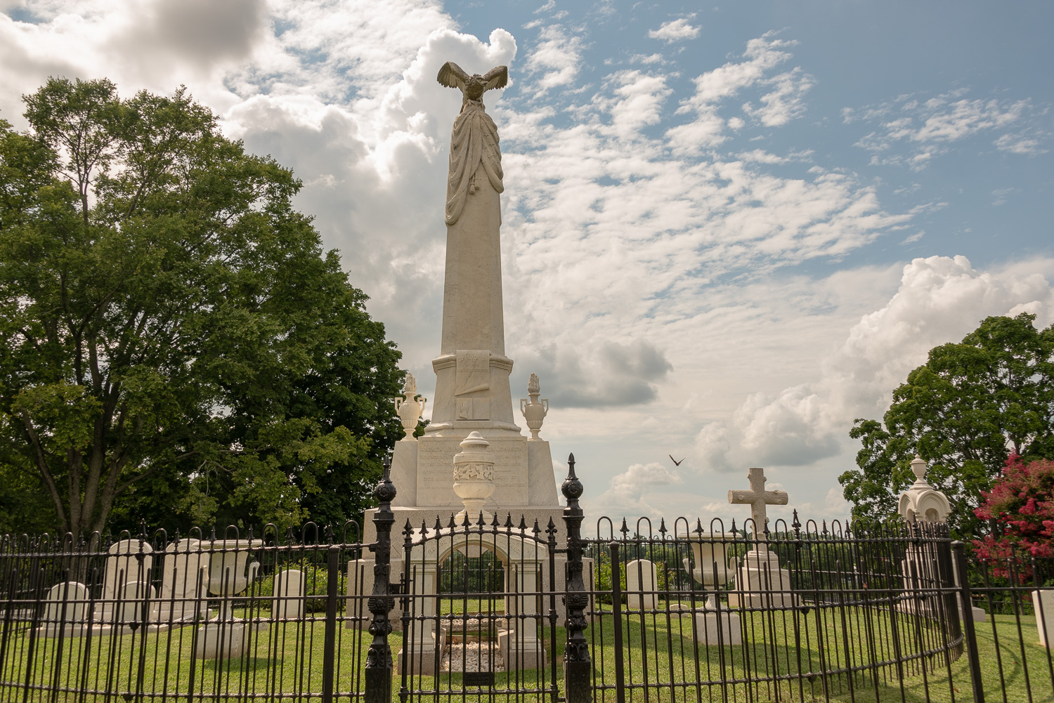 The formidable monument marking Andrew Johnson's resting place.