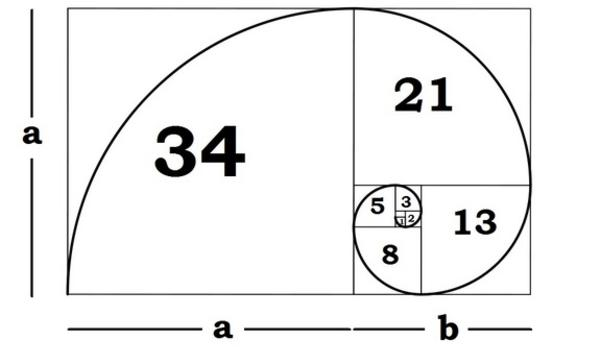 This is the golden mean, also called the golden ratio. The way it works is that a +  b  is to a, as a is to  b.  This is tricky to understand but when you see the picture, it kind of makes sense.