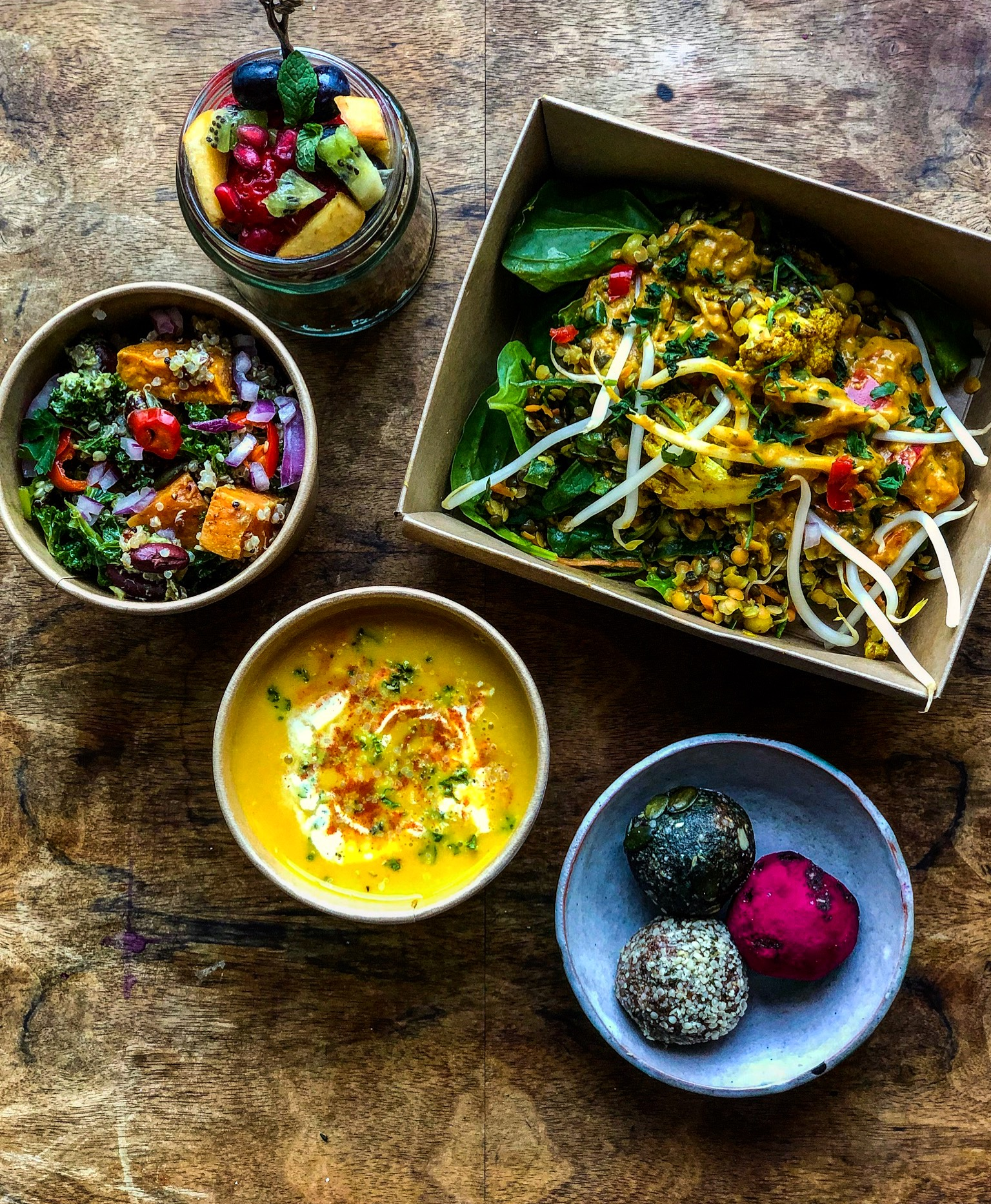 Fruit and Chia Pud. Coconut Thai Squash Soup. Quinoa and Sweet Potato Salad. Laksa Curry. Protein and CBD Raw Balls.