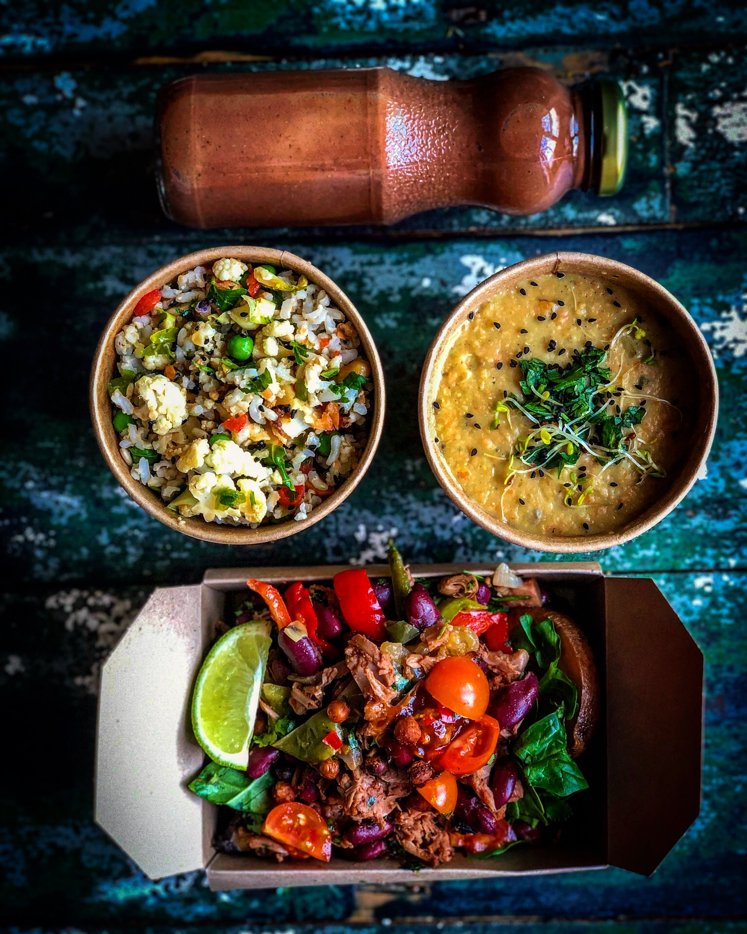 Salted Cacao Smoothie. Dahl Soup. Rice Salad. Roasted BBQ Jackfruit Bowl
