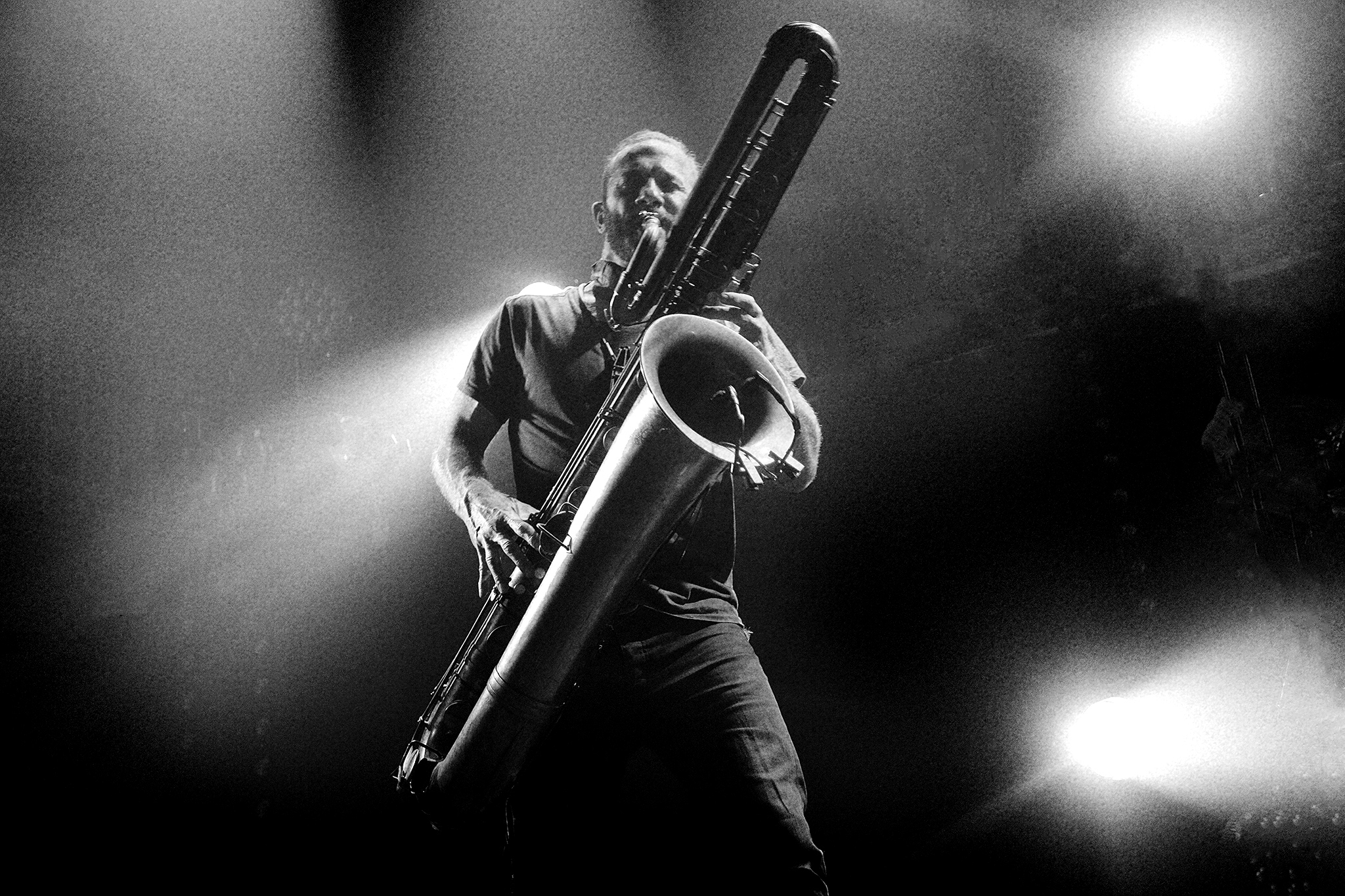Colin Stetson and his mighty bass saxophone - pic James Duncan