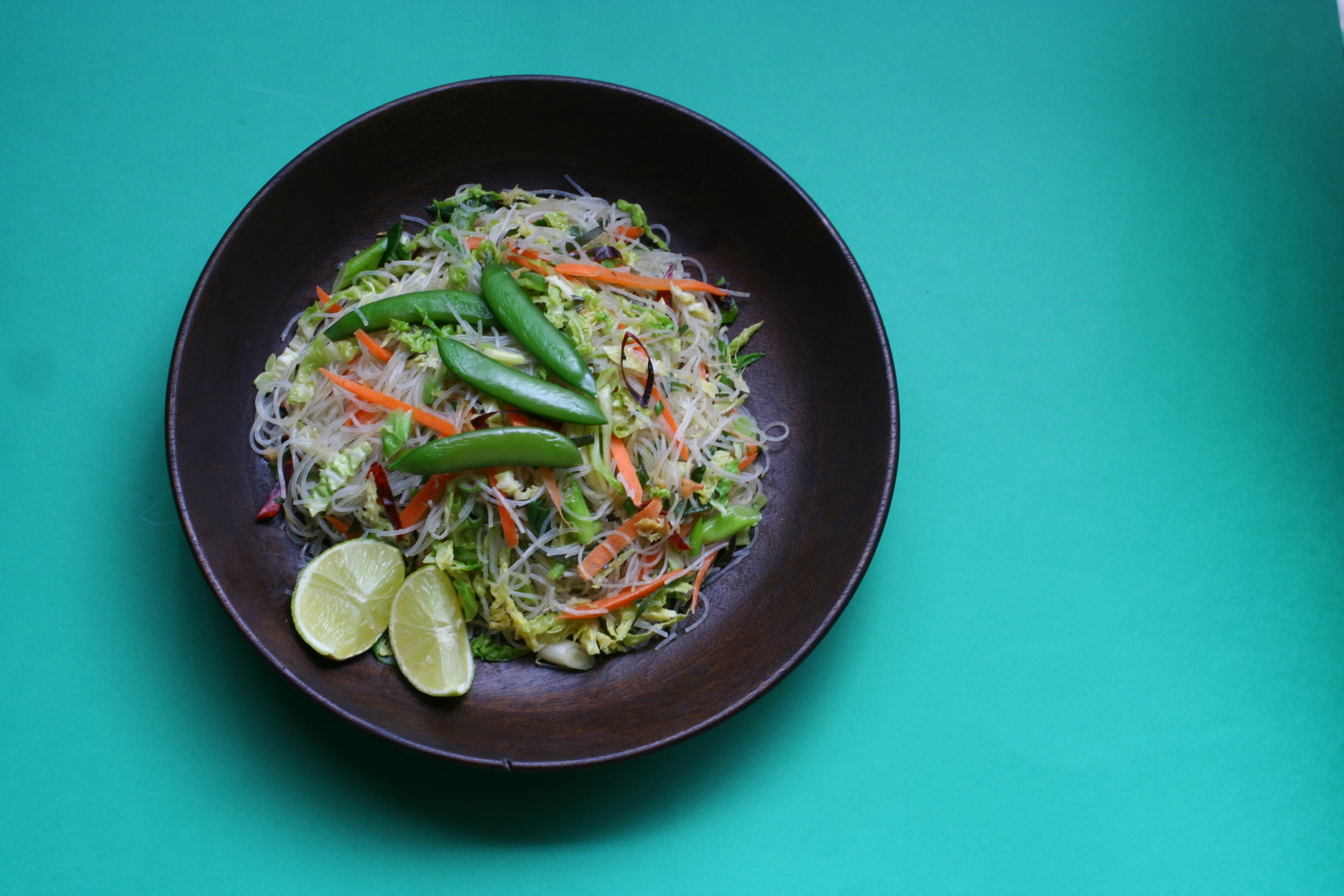 Pancit Gulay Guisado - Stir-fried rice noodles with cabbage, ginger and lime leaves