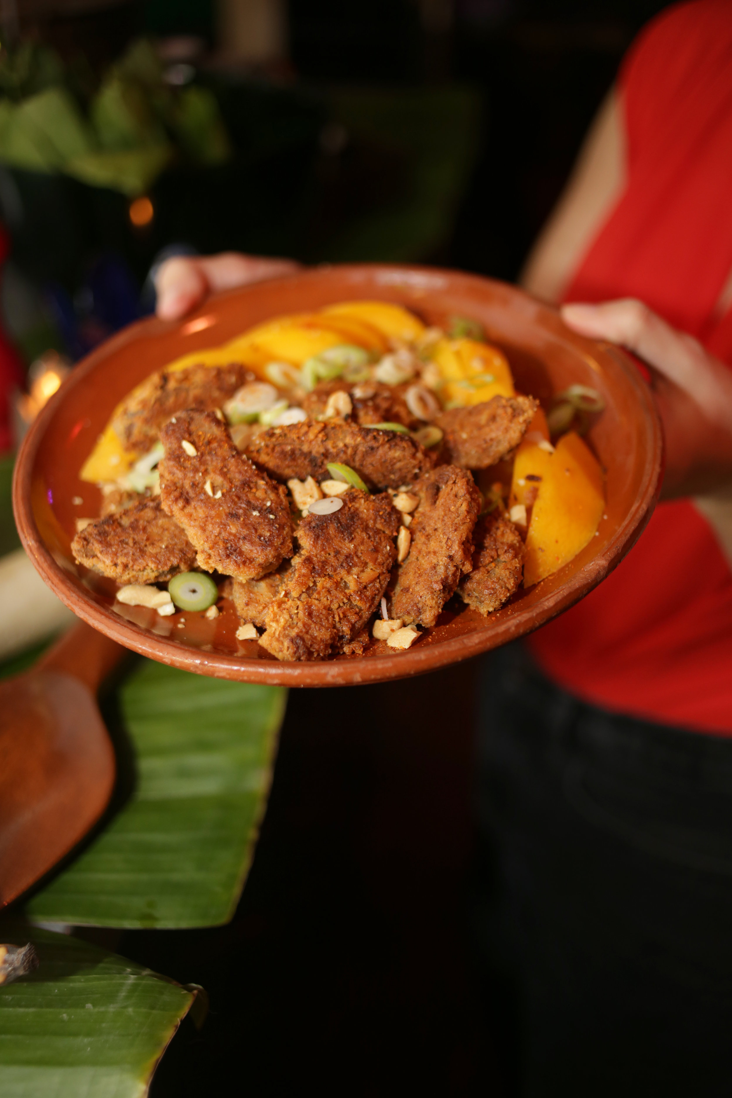 Coconut-fried Seitan for our vegan guests