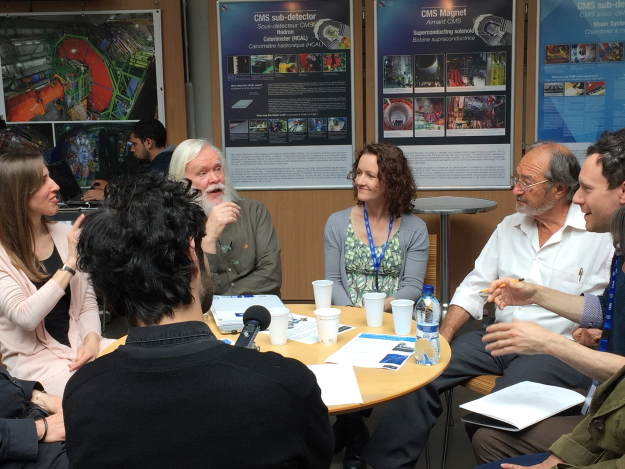 On 9 May 2017, during a second visit to CERN, a group of MA Art and Science students from Central Saint Martins London held a roundtable discussion with scientists on the common ground between art and science. The meeting explored the role of creativity and intuition in both professions. This is a recording of the event held in the cafe of building 40, the headquarters of the CMS experiment. Our thanks to Michael Hoch and Mick Storr from Art@CMS for their help and Angelos Alexopoulos for moderating. Participants were; Jill Mueller, Stephen Bennett, Lisa Pettibone (CSM MA students); Stephen Preece (artist and art educator); John Ellis (theoretical particle physicist), Daniel Denegri (experimental particle physicists), Chiara Mariotti.