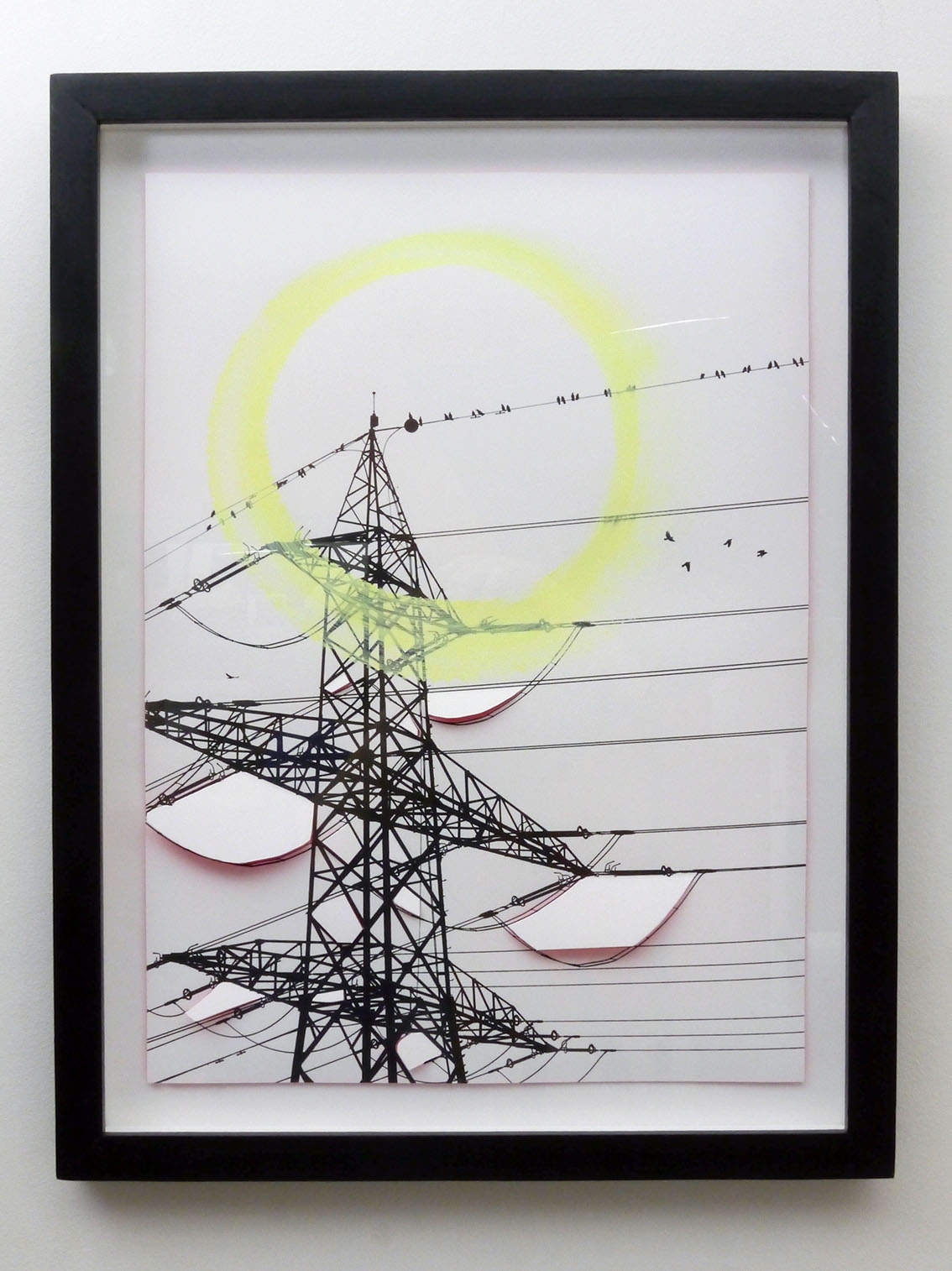 Share the Wire, screen print, 60 x 40 cm, exhibited at CSM x CMS Entangled, Four Corners Gallery, London 2017