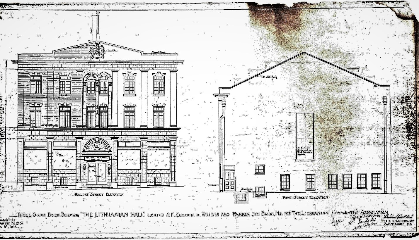 Part of the architectural drawings for the newly designed Lithuanian Hall