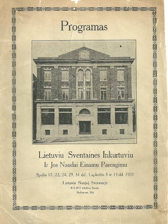 Program book cover for the Opening celebrations in October - November 1921