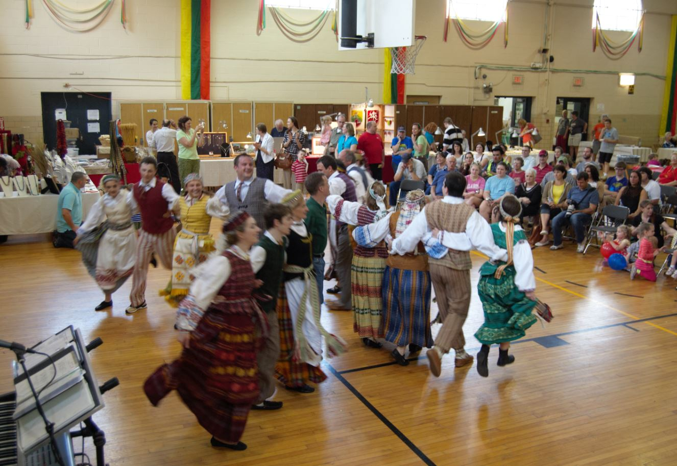 "Dancing their namesake dance, ""Malūnas,"" the windmill, at the Baltimore Lithuanian Festival in Catonsville, MD.."