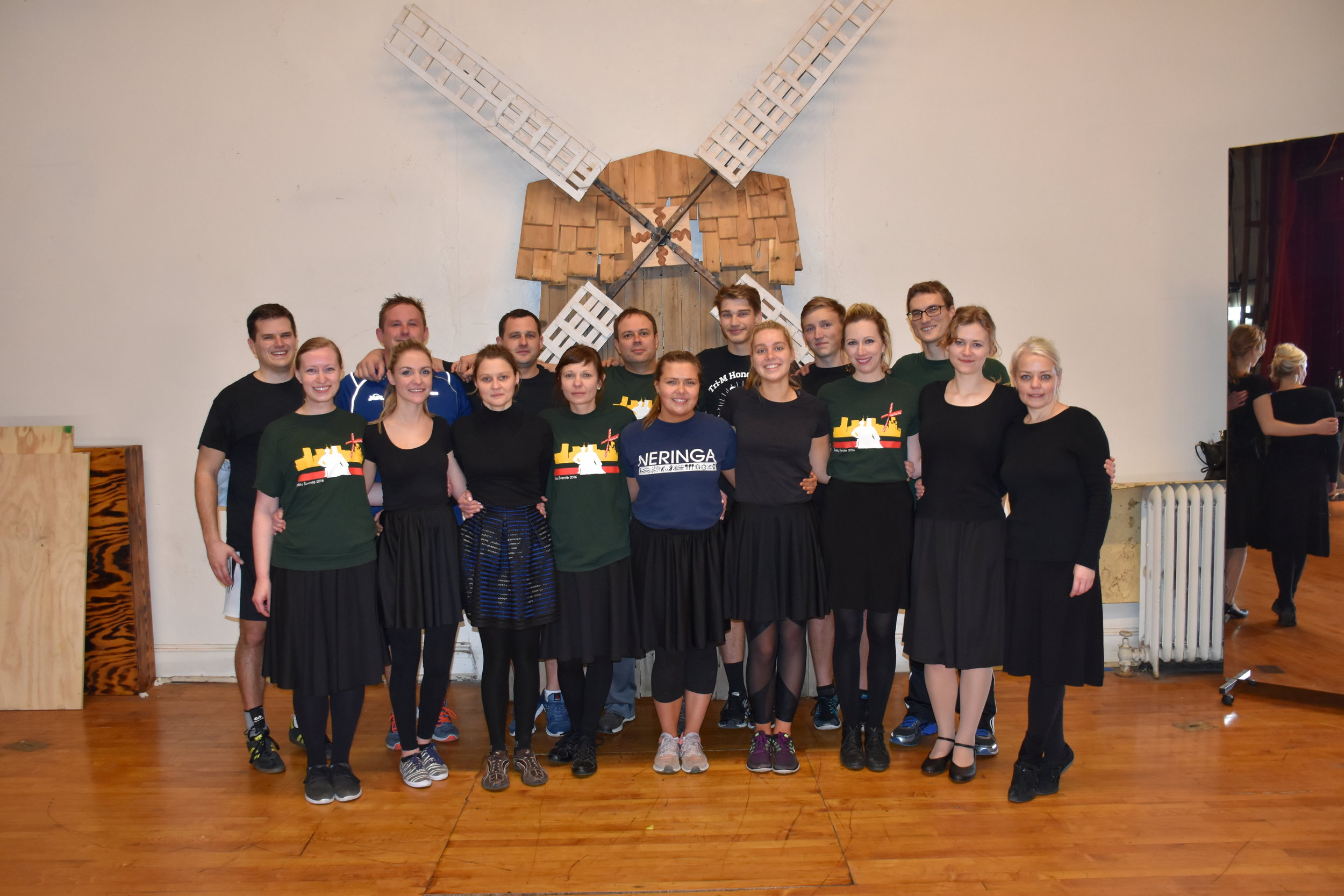 The group of dancers that went to Lithuania in the summer of 2018, practicing on the main stage at the Lithuanian Hall.