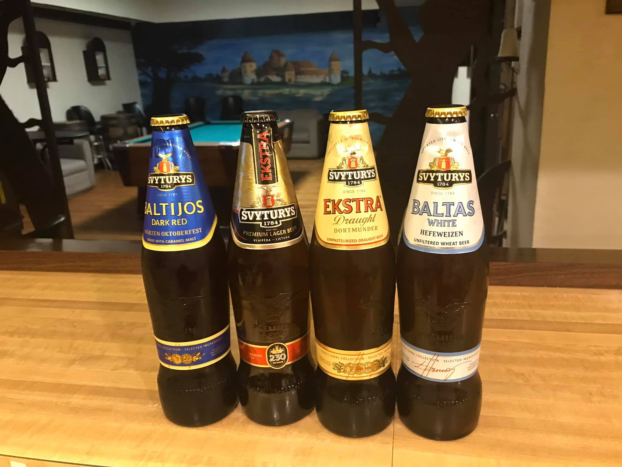Our regular Šveturys (Lighthouse) Lithuanian Beer lineup.