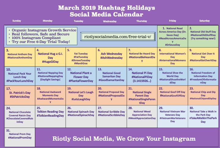 Social Media calendar March 2019
