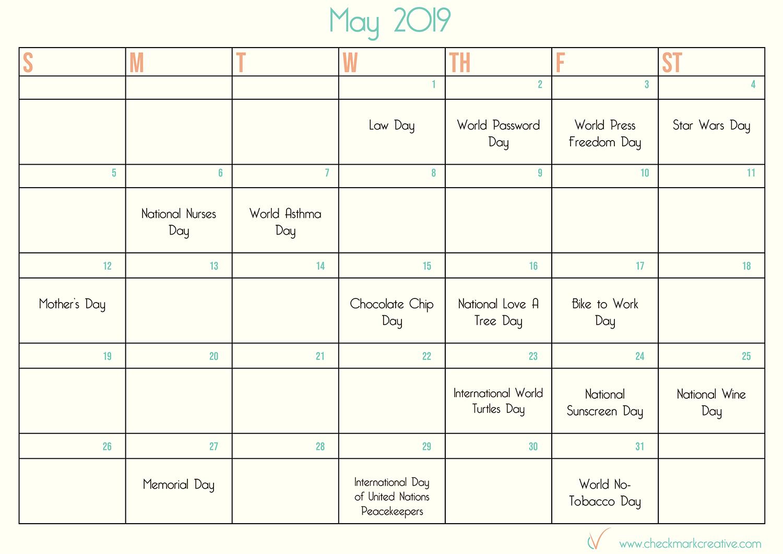 May 2019 social media calendar