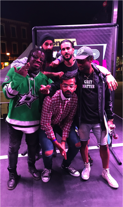 Nav with Rappers Scotty IV, Tremayne, B-Magic and Noyz at Monster World Mashup (June 2018)