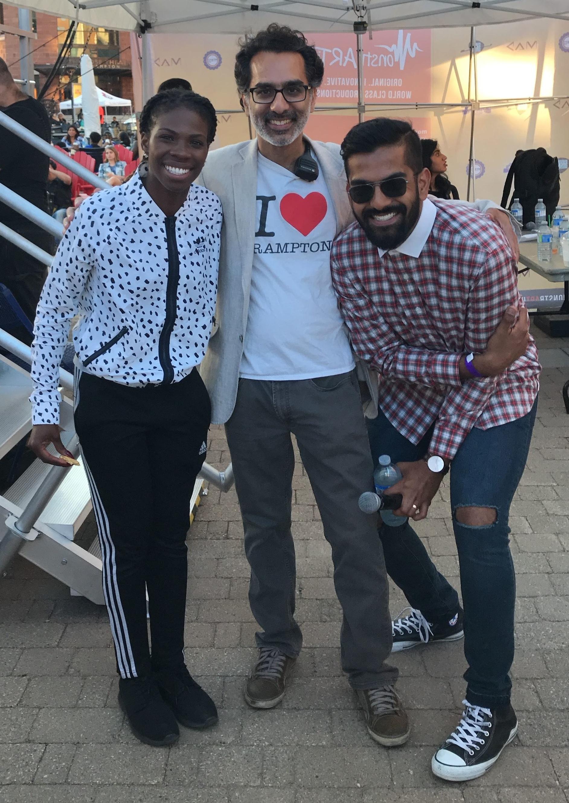 (From Left to Right) Rapper Haviah Mighty, Monstrartity Creative Director Vikas Kohli and Nav Nanwa