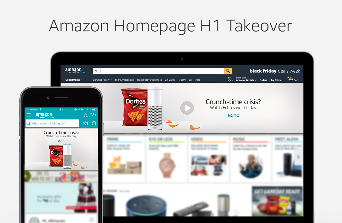 Amazon Homepage H1 Takeover, Digital, 3000 x 600px(Desktop) / 1242 x 704px(Mobile)