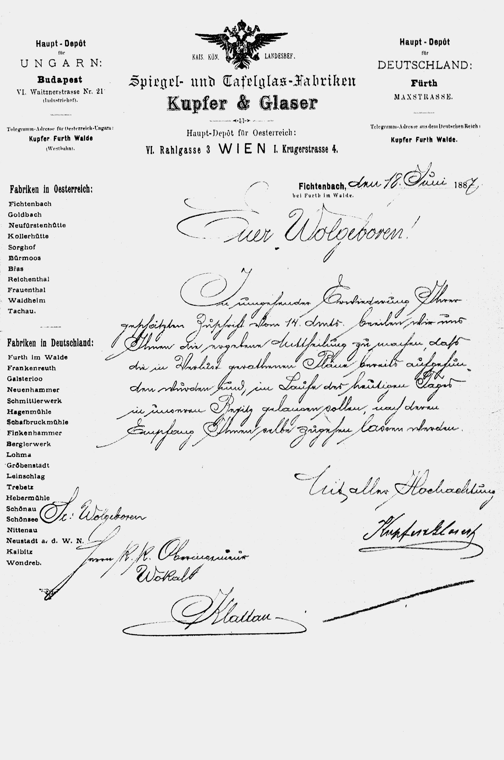 Business letter from Kupfer & Glaser, 1887