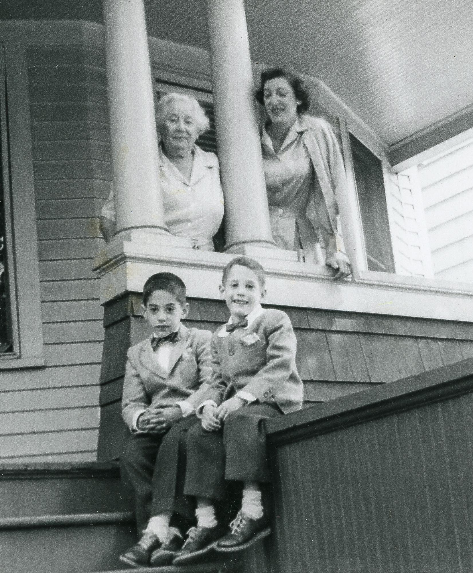 Nana, Mom, Richard and me, Willow Street, New Haven, ca 1955.
