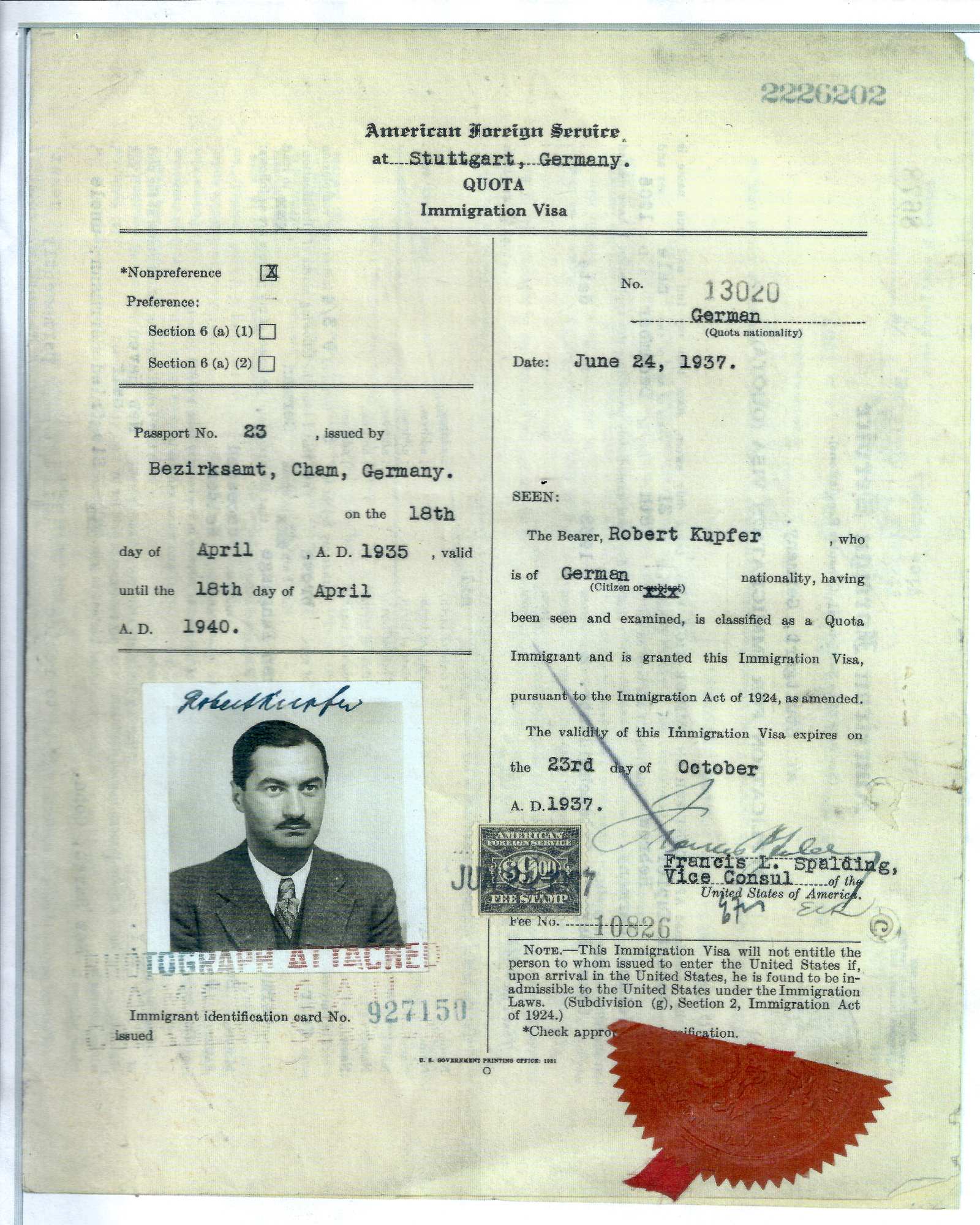 Dad's U.S. immigration visa.