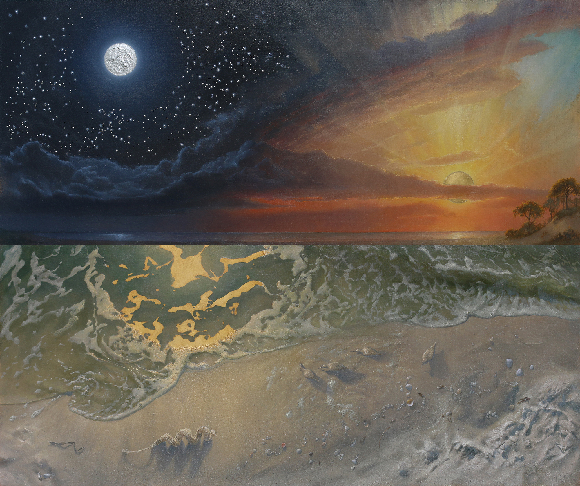 Hieros Gamos  was painted with the companion piece  Ontology. Both now reside in a prestigious private collection.