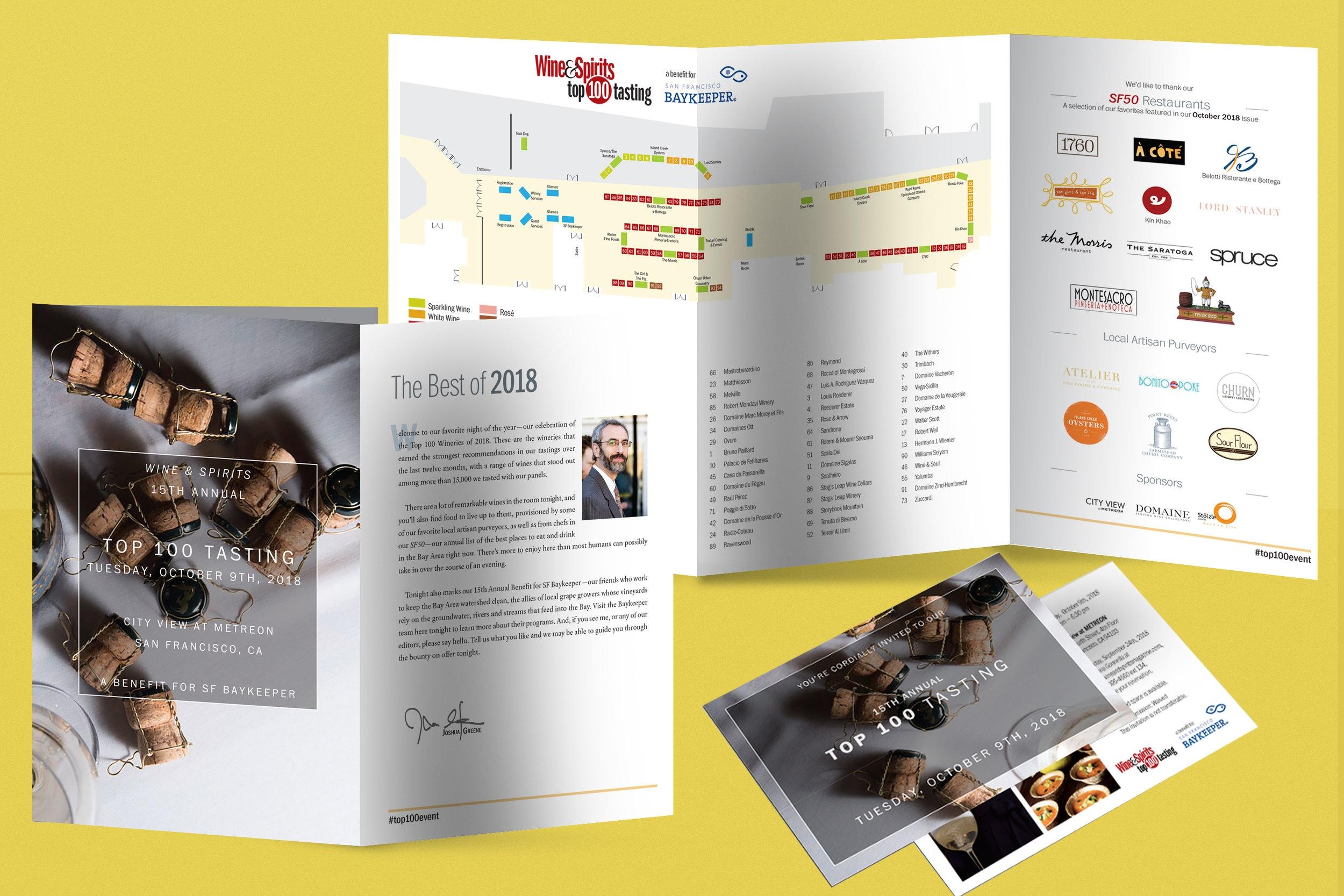 Wine & Spirits Top 100 Tasting print program and promotional postcard