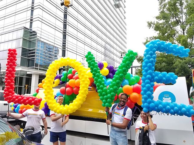 The rain slowed us down but the #pride2019 parade carried on 🎈🎈