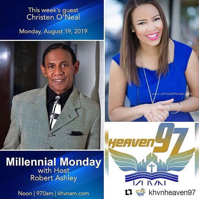 Hey guys! I'm excited to be a special on KHVN's new segment #MillenialMonday!  Tune in @ 12p CST  http://www.khvnam.com/listen-live/  #Repost @khvnheaven97 ・・・ IT'S MILLENNIAL MONDAY! Join our host Robert Ashley and special guest Christen O'Neal at NOON on  KHVN Heaven 97 at Noon. DOWNLOAD OUR APP TO LISTEN LIVE OR tune into 970 am.  #khvnheaven97 #millenialmonday #radioshow #talkradio #gospelmusic