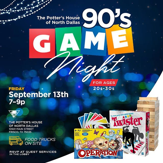 I can't contain my excitement about this event!!! This Friday, September 13th, me and a few of my friends are hosting a game night @tphnorth for our #Millennials! Food trucks, 90s music, 90s games, great conversation!!! This is about to be EPIC!! Can't wait! 😬😬😬😬😬 Thanks Pastor @sherylbrady for seeing the need and making room!! You're the best!!!!