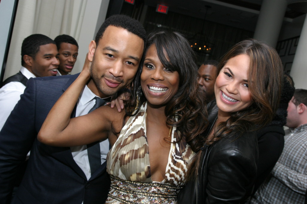 John Legend and his wife, model Chrissy Teigen, with Yvette Noel-Schure at her 50th Birthday celebration. Photo: Chidiadi Ugorji.