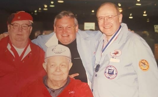 PHOTO COURTESY OF ROBERT BOMIA. PICTURED Roger Dent, Harold May, Allen Bush, and Bob Bomia at ARBA Convention in Rhode Island