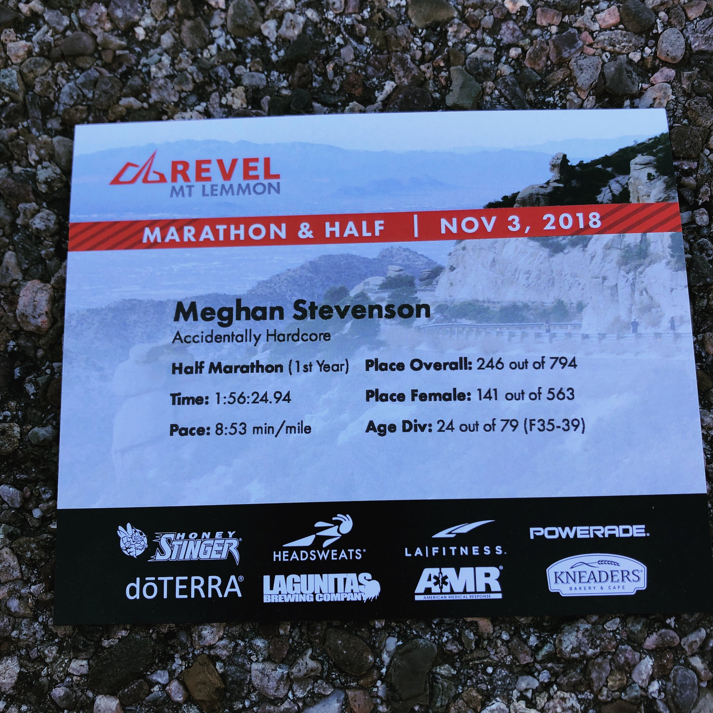 The awesome results card that Revel prints at the finish line.