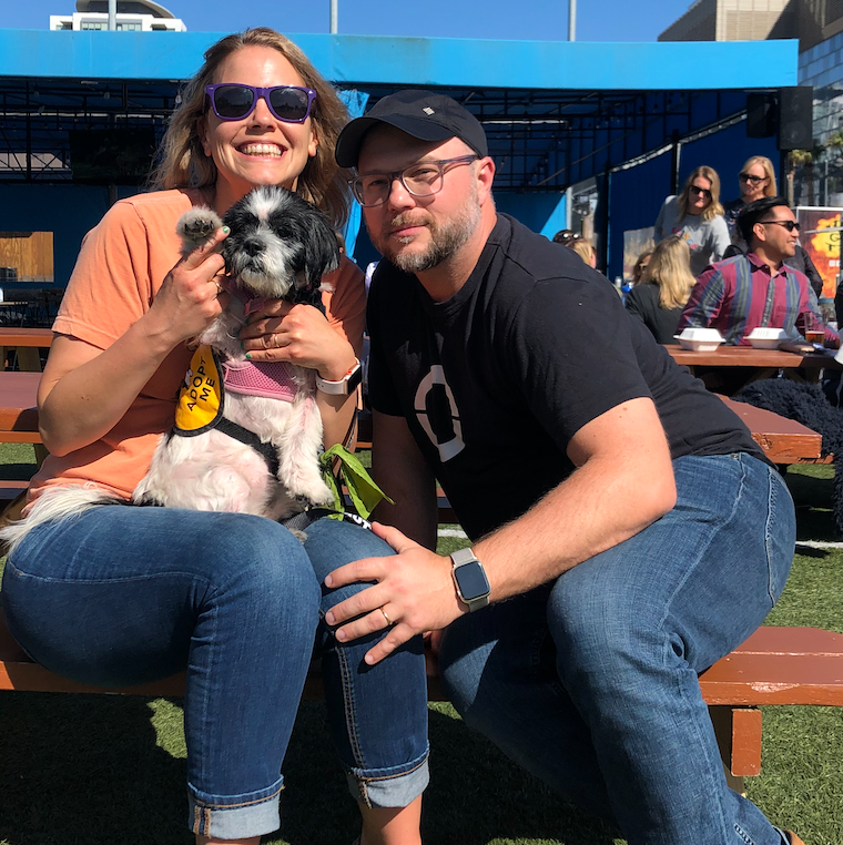 Who can resist one more dog picture? - Not me! This is me, my husband Scott and our foster dog from Muttville (who found her furever home!) Stretchie.