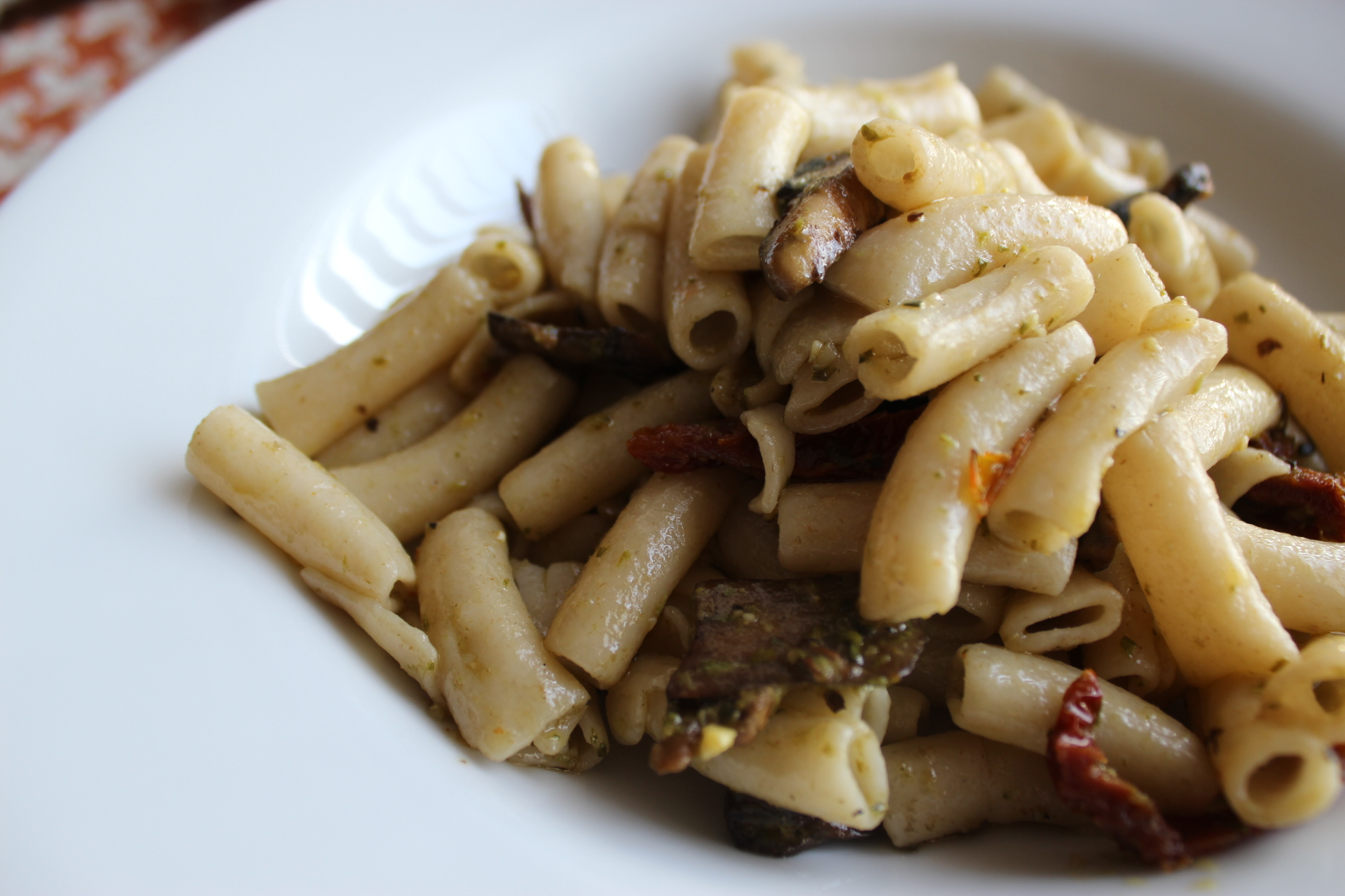 penne with mushrooms and sun dried touch of pesto.JPG