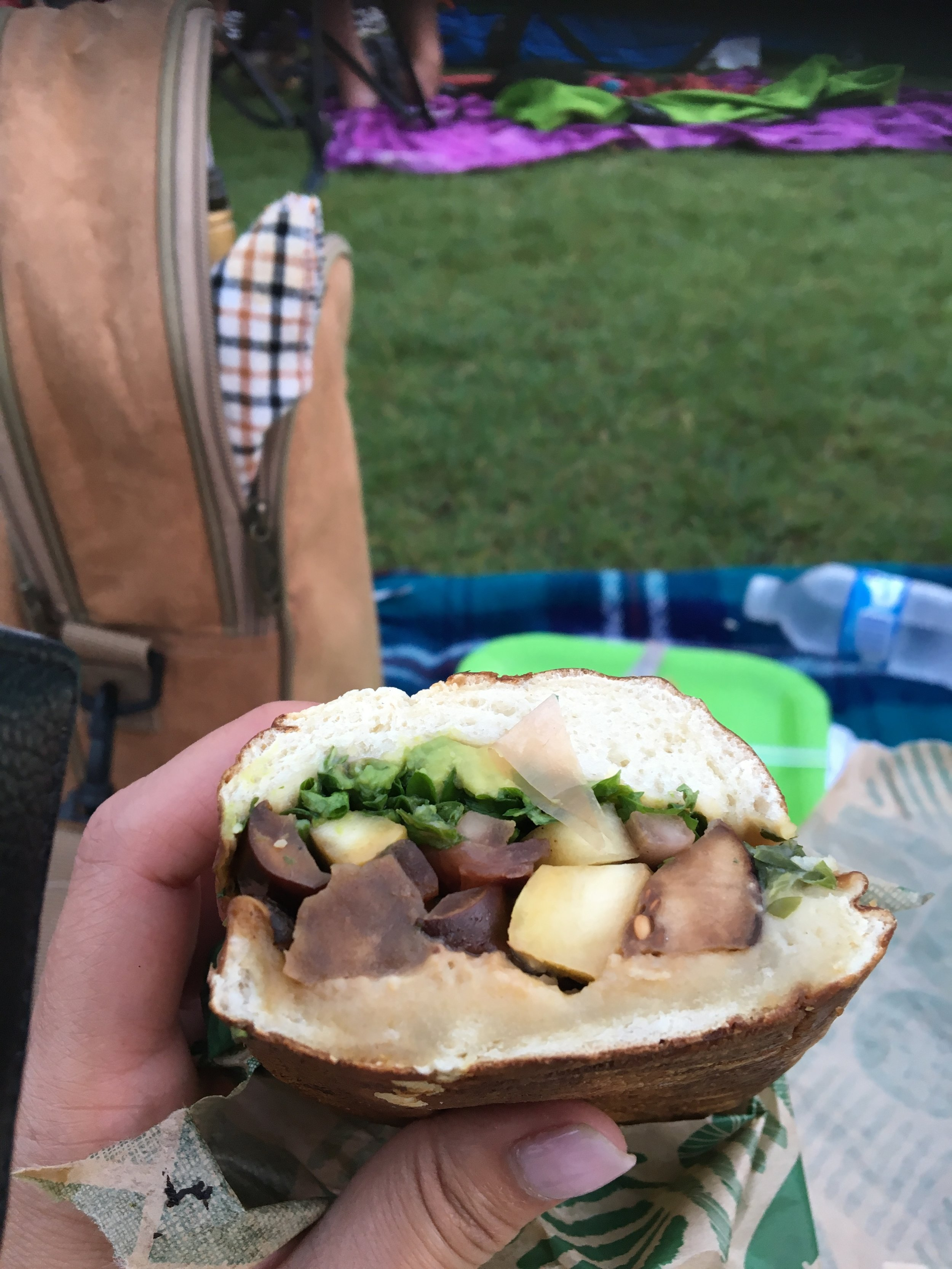 Vegetarian sandwich on a picnic