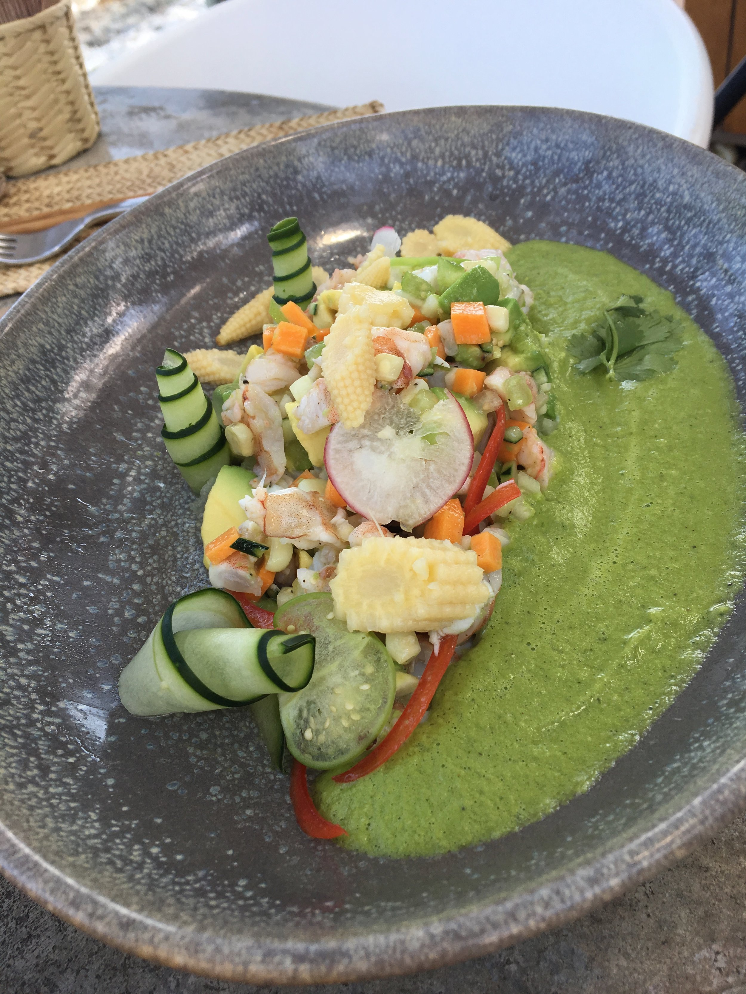 Ceviche at Tulum's  Mezzanine ; have lunch here and drive up the road to visit Zona Arqueologica de Tulum.
