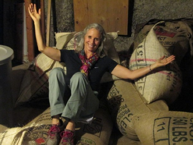 "Linda ""taking a break"" during her week as a Coffee Roaster"