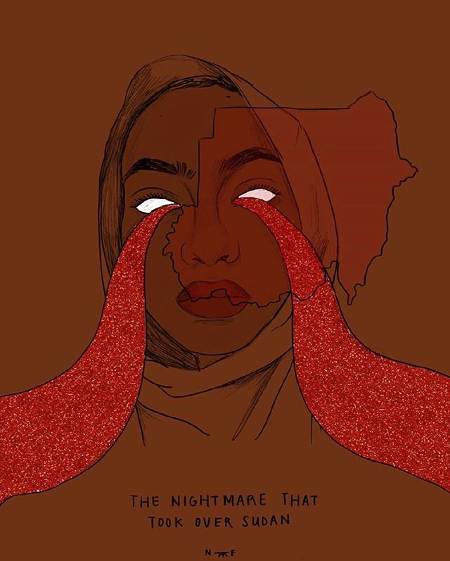 The Sudanese government is killing civilians, women are being raped, bodies are being thrown in the Nile River. I've linked to a document that hard working activists have put together in my profile. It gives links to information, action items, artwork (like this one by @nouriflayhan) podcasts, and places you can donate. (I will make a piece by the end of next week for donation). Please inform yourself and spread this information, it is not being covered by mainstream media. #SudanUprising, #SudanRevolts, #SudanCivilDisobedience, #IAmTheSudanRevolution #SudanRevolution