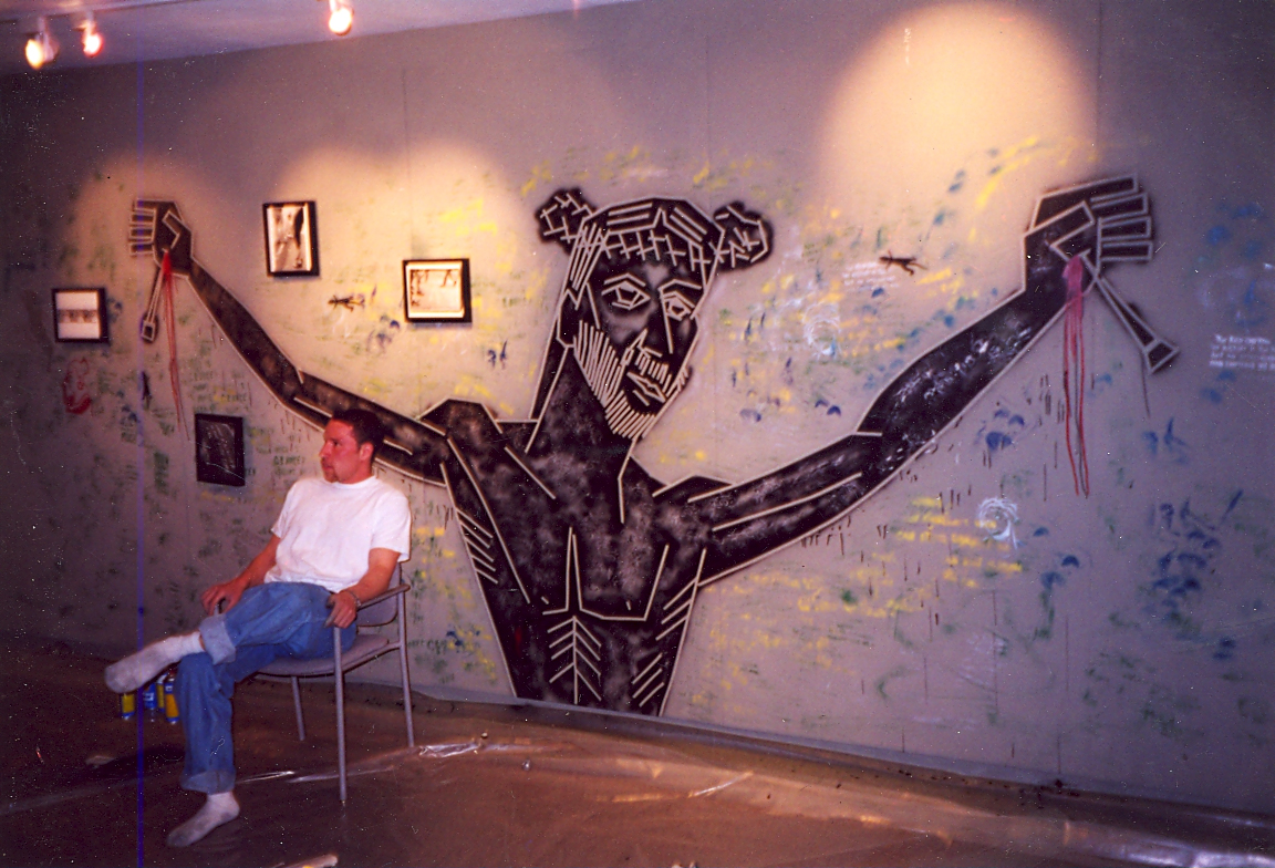 Installation of Talking Walls and Sidewalks at Virginia Tech's Armory Gallery, 1990