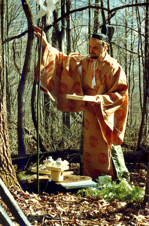 "Ray Kass wearing traditional Shinto priest vestments to conduct the ""Forest Blessing Ceremony"" on Little Stone Mountain in Wise County, Virginia"
