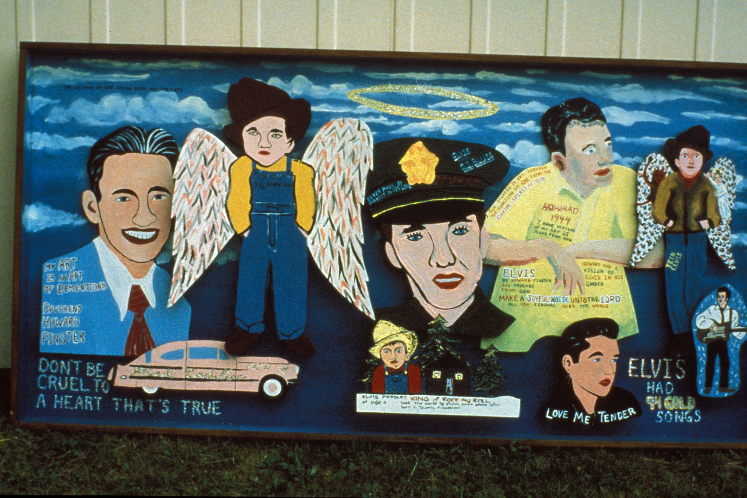 """Elvis Had 94 Gold Songs, 1985, oil paint on wood, assemblage of """"Dementions,"""" 41 x 82 x 4.5 in. (104.14 x 208.28 x 12.06 cm)"""