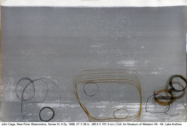 John Cage and Peter Lau, New River Watercolors, Series IV, variant #2a, 1988, watercolor, 26 x 40 in. (101.60 x 66.04 cm).jpg
