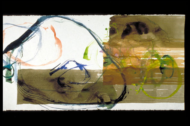 John Cage, Series I, #5, 1988, watercolor on parchment paper, (18 x 36 in)