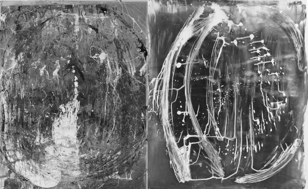 Metempsychosis Diptych #6, 2013, enamel oil paint, developer, photography and and laser imagery on photographic paper, 40 x 100 in. (101.6 x 254 cm)